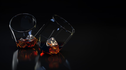 Glass with alcoholic drink. 3D Rendering