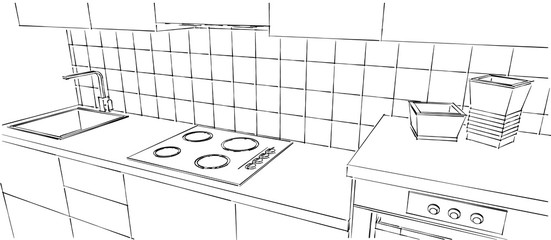Contemporary kitchen counter close up. Outline black and white sketch drawing isolated. Perspective view.