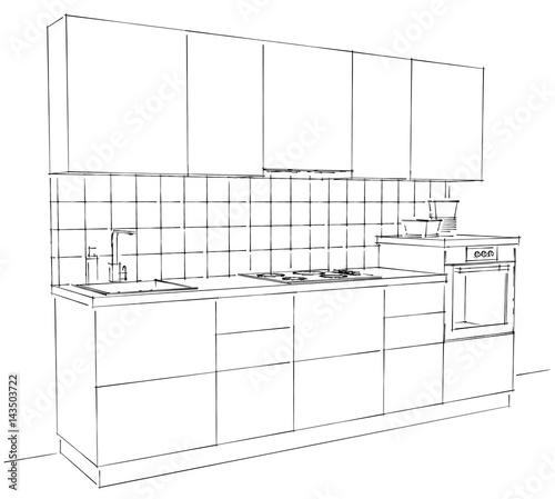 """Kitchen Interior Perspective: """"Modern Corner Kitchen Interior Sketch With Tile Splash"""