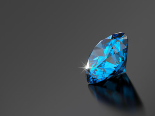 Blue diamond isolated on black background with soft light reflection. 3d