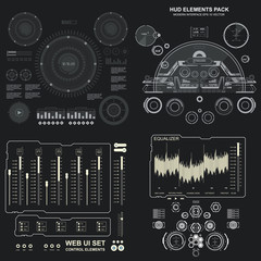 Set black and white infographic display elements for the web app