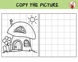 Mushroom house. Copy the picture. Coloring book. Educational game for children. Cartoon vector illustration