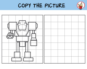 Robot. Copy the picture. Coloring book. Educational game for children. Cartoon vector illustration