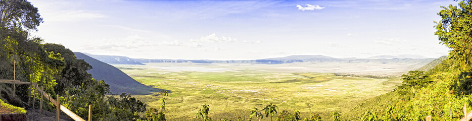 Panoramic view of Crater  Ngorongoro the afternoon