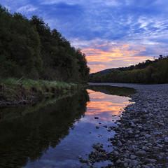 Sunset sur Lower Hutt River