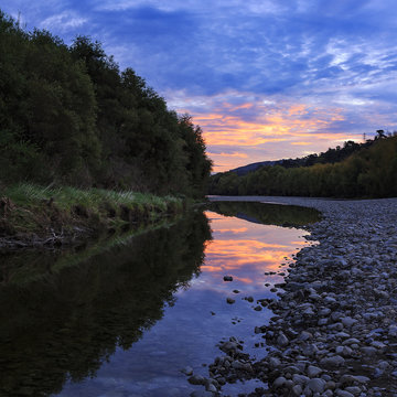 Sunset sur Lower Hutt River