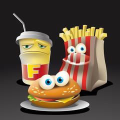 ПечатFunny Fast food. Happy hamburger, fries and a glass of soda. Illustration vector.ь