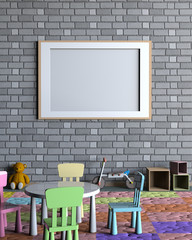 Mock up poster interior with kid room. 3D Rendering