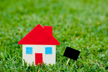 House - Home - blank blackboard on grass background