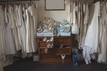 Various wedding dresses and footwears