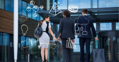 Digital composite image of business people with business icons