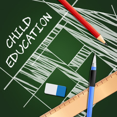 Child Education Showing Kids School 3d Illustration