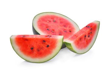 Slice of fresh watermelon isolated on white background