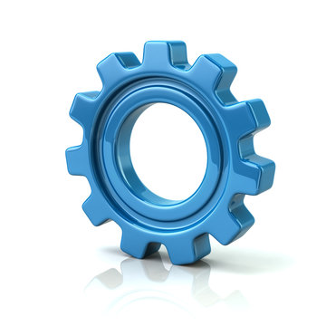 3d illustration of blue gear wheel the symbol of settings and preferences