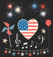 American 4th of July Holiday Chalk Drawing Design Elements Vector Set