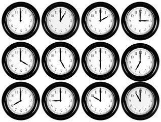 Wall clocks collection isolated on white