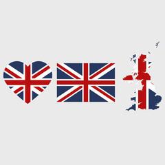United Kingdom flag map heart