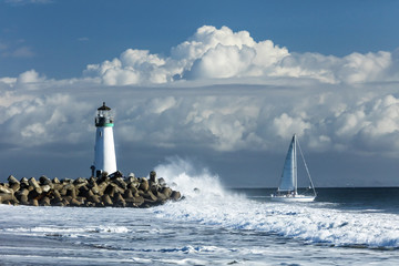 Canvas Prints Lighthouse Lighthouse Walton on Santa Cruz Shore