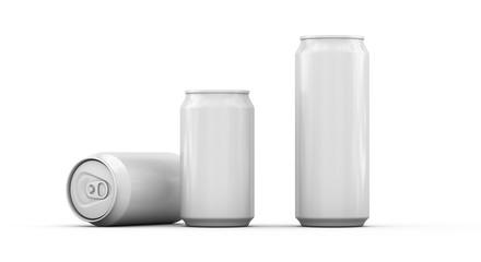 leere blanko Dosen 330 ml ohne Beschriftung auf weißem Hintergrund zum Freistellen