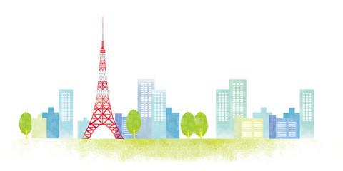 東京 街並み 水彩イラスト