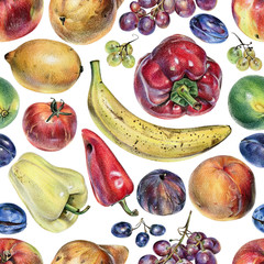 Seamless pattern with fruits, berries and vegetables drawn by hand with colored pencil. Healthy vegan food. Fresh raw foodstuffs painted from nature