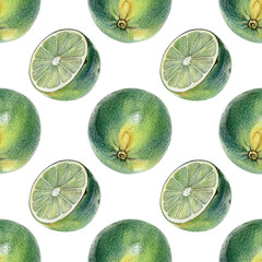 Seamless pattern with green limes drawn by hand with colored pencil. Healthy vegan food. Fresh tasty fruits painted from nature