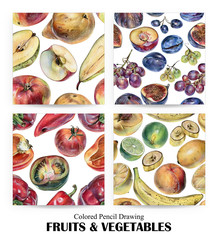 Set of seamless patterns with fruits, berries and vegetables drawn by hand with colored pencil. Healthy vegan food. Fresh raw foodstuffs painted from nature