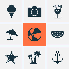 Sun Icons Set. Collection Of Bead, Sweets, Trees And Other Elements. Also Includes Symbols Such As Video, Vitamin, Beach.