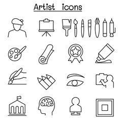 Art icon set in thin line style