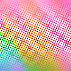 Colorful Rainbow Halftone Dots Spotted Pattern with Focus in Center Banner Featuring Pink Orange Yellow Green & Blue - High resolution illustration, suitable for graphic design or background use.
