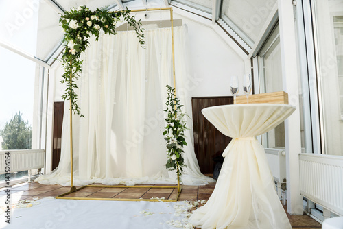 White wedding ceremony decorations indoor. Wedding when bad weather ...