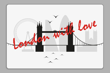 Plastic card with London skyline vector silhouette.