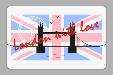 Plastic card with London tower bridge, London Eye and Union Jack vector silhouette.