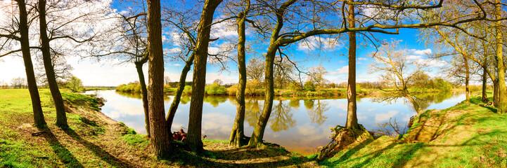 Panorama einer idyllischen Landschaft am Fluss mit Wiesen und Bäumen