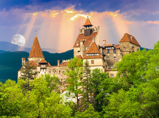 Fotobehang Kasteel Historic architecture of the famous Count Dracula castle in Bran town. Medieval building of Transylvania in Romania