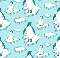 seamless pattern with hand drawn arctic animals on ice floe. pinguins