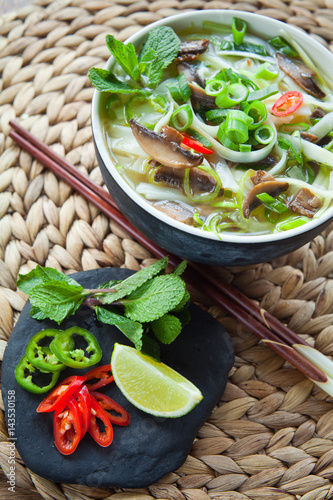 Spicy vegetarian rice noodle vietnamese vegetable pho for 7 spices asian cuisine
