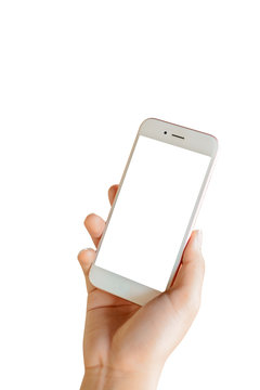 Hand of women holding phone with blank white screen isolate on white background.