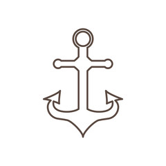 Anchor in the style of the outline. Vector illustration.
