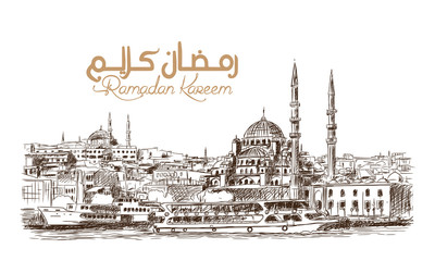 Hand drawn sketch of the world famous Blue mosque in Istanbul with Ramadan Kareem text in vector illustration.