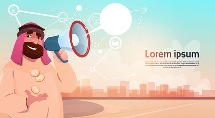 Rich Arab Businessman With Megaphone Loudspeaker Chat Bubble Message Flat Vector Illustration