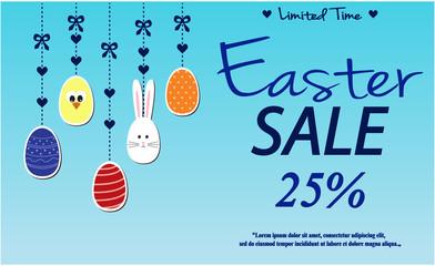 Easter Sale card or background. vector illustration.