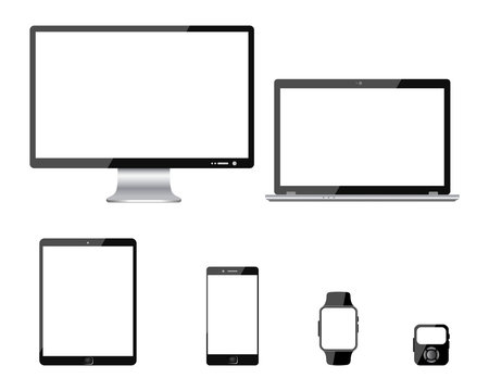 Set of six black communication technology devices - for stock