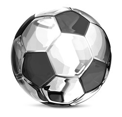 silver soccer football ball 3d rendering