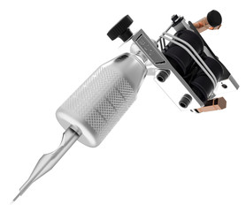 Metallic silver tattoo machine with needle and gloss coils