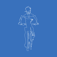 Mountain biker. Vector drawing a single stroke. Continuous line art
