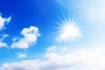 Nice blue sky with clouds and sun