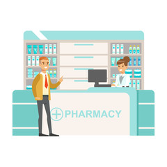 Man In Tie And Cardigan In Pharmacy Choosing And Buying Drugs And Cosmetics, Part Of Set Of Drugstore Scenes With Pharmacists And Clients
