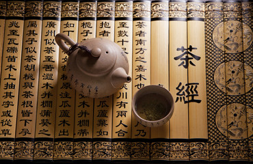 Traditional tea ceremony accessories, teapot and teacup with chinese poetry background