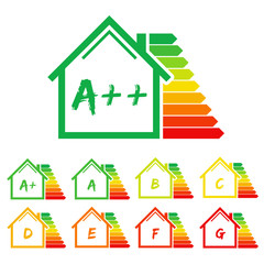 Energy efficiency label house. Eps10 vector illustration.